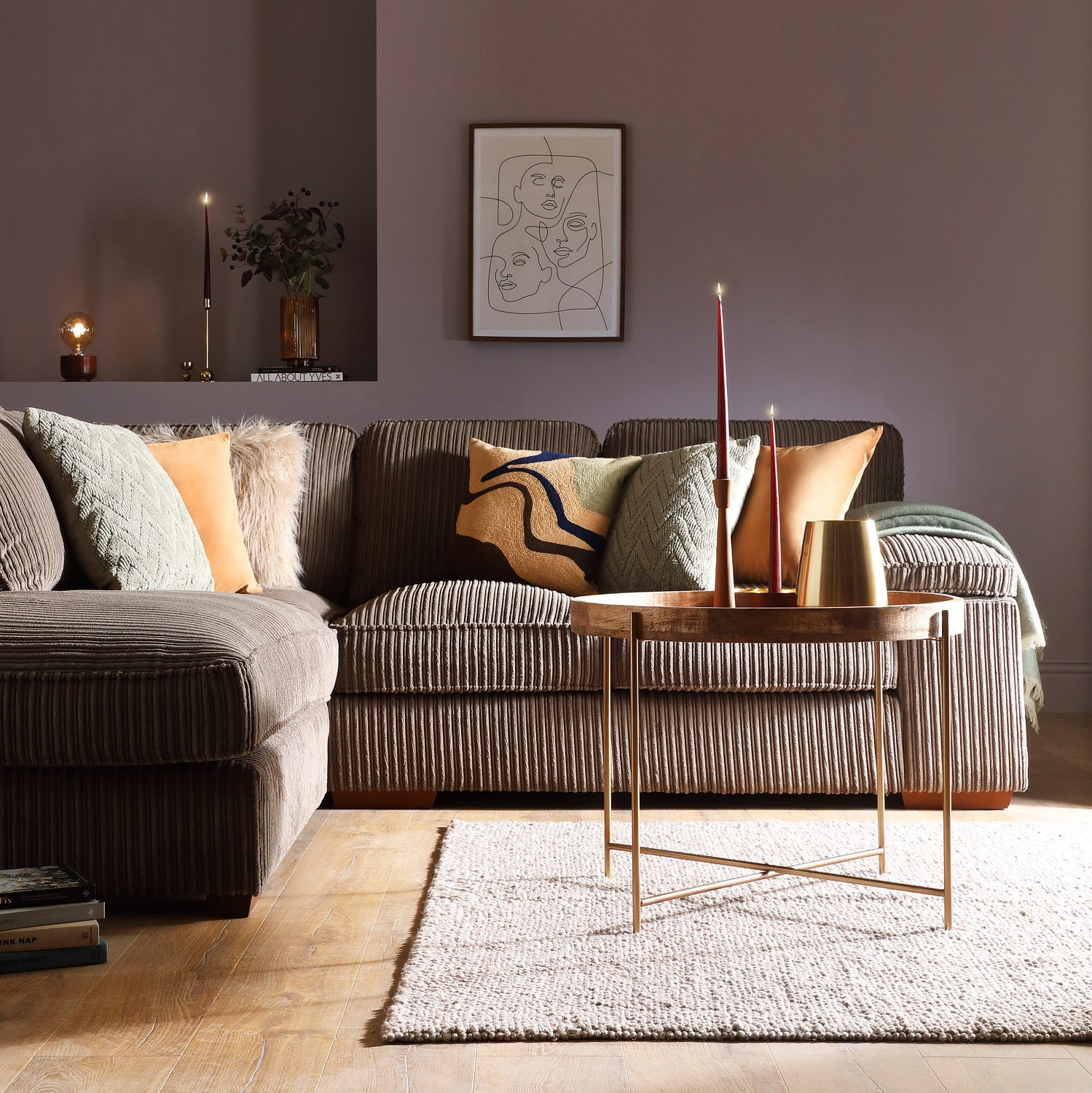 Inglenook, a cool grey with a lilac hint, sets the tone in this Furniutre and Choice living room