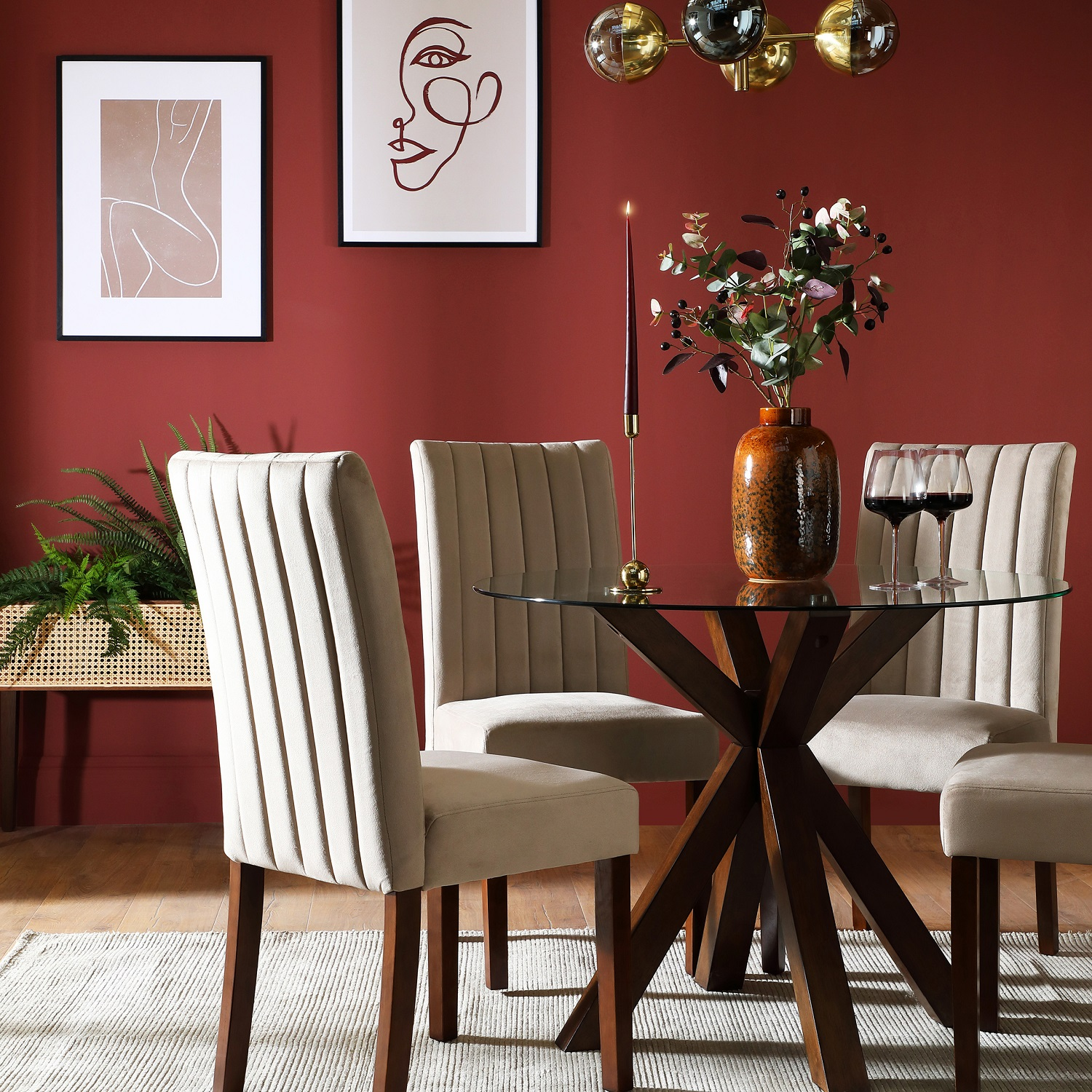Lady Bug is a rich earthy red, used by Furniture and Choice in this dining space