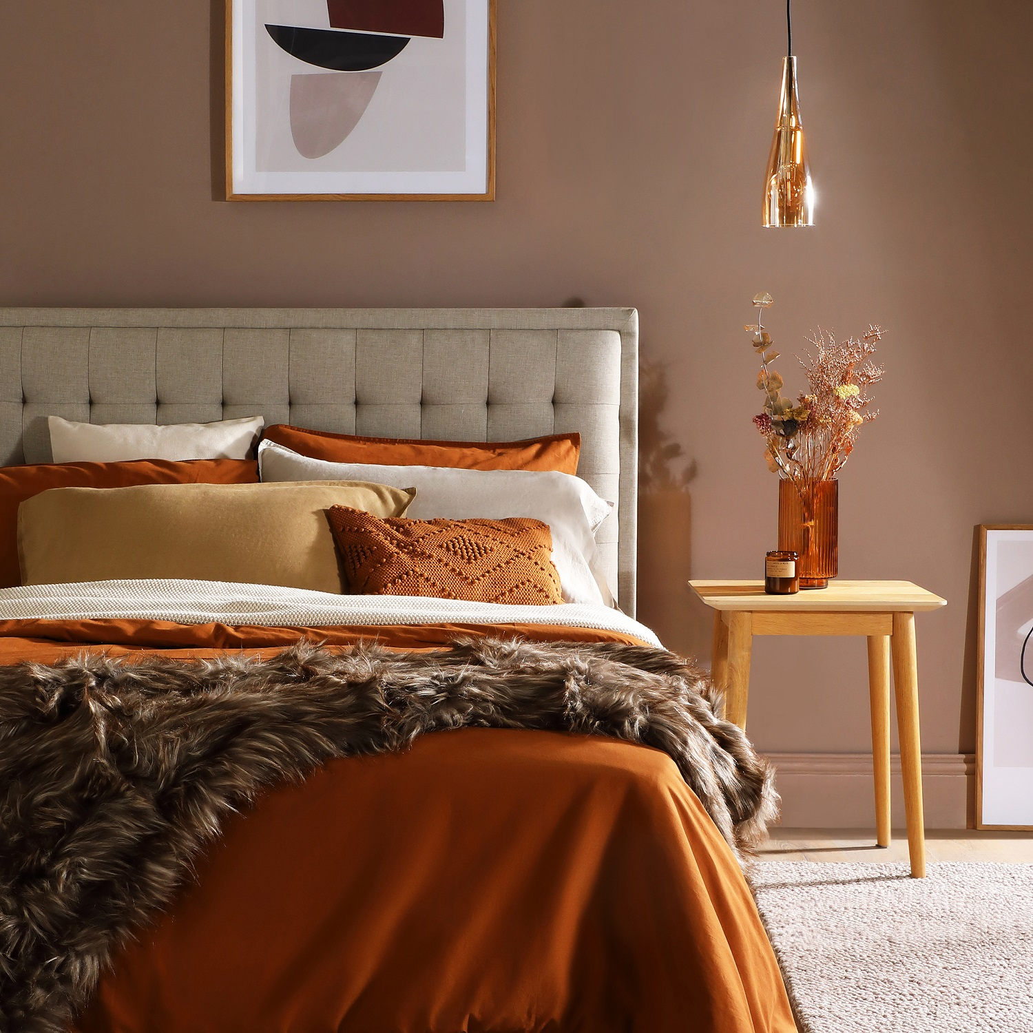 Furniture and Choice chose Earthborn's Muddy Boots for a relaxed bedroom