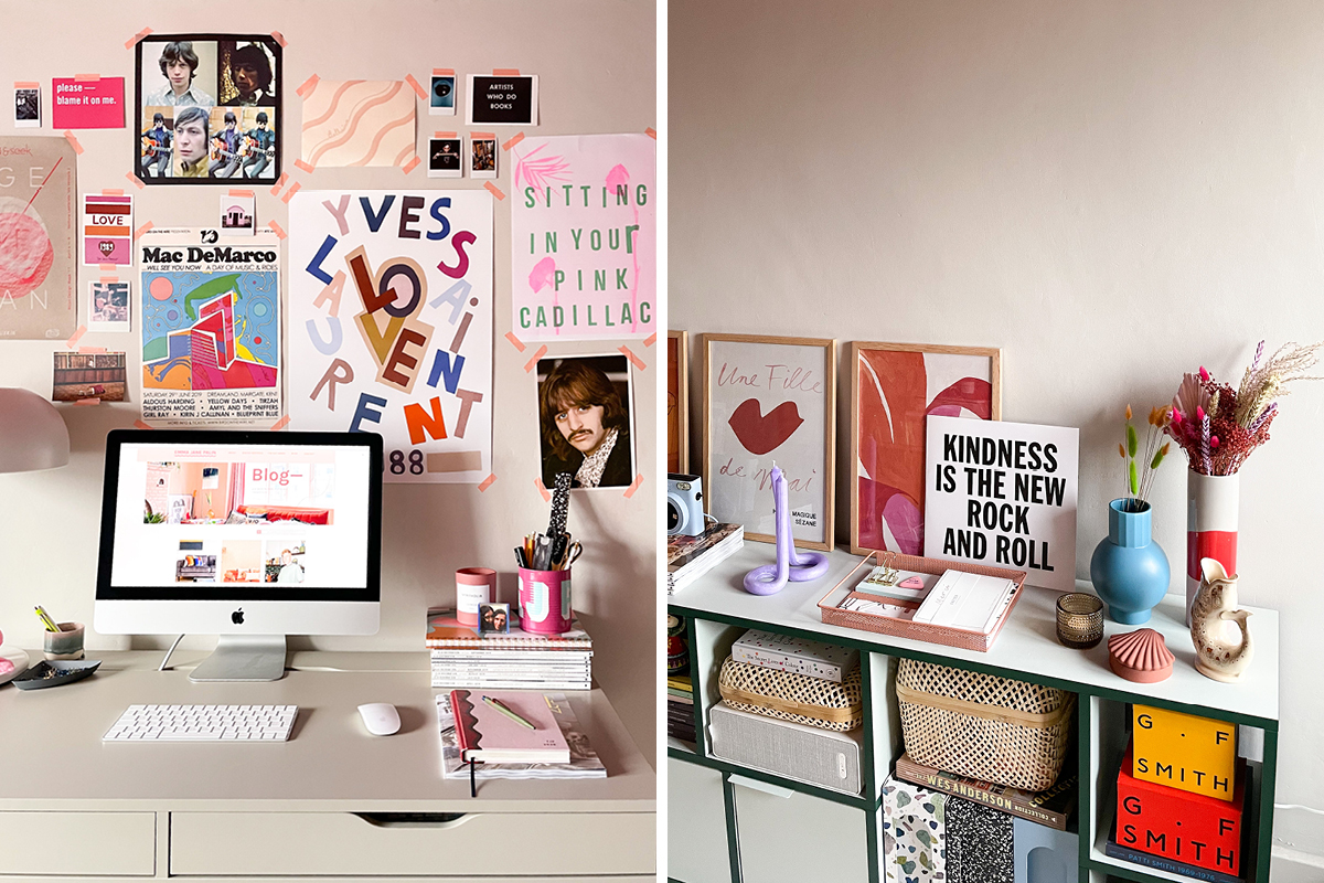 Emma used practical furniutre and stylish accesories to update her home office.