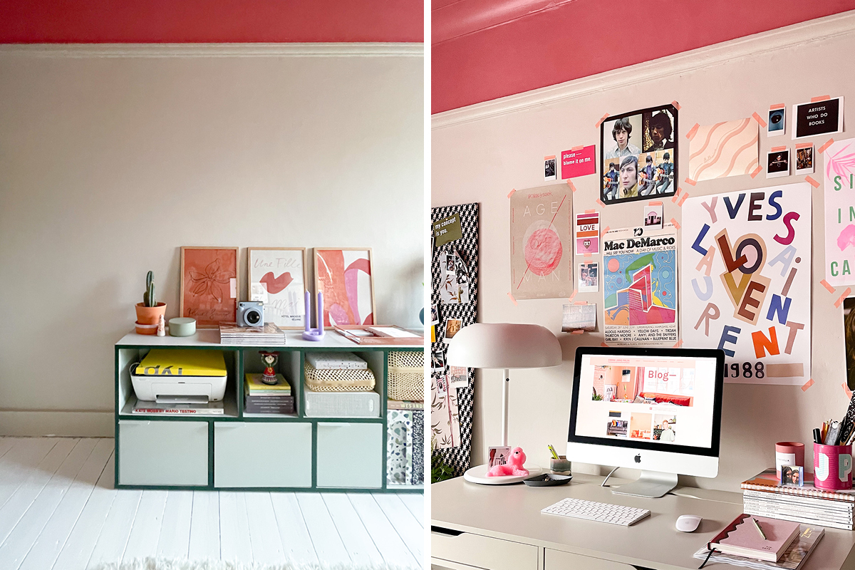 Emma Jane Palin's home office update includes this pink ceiling!