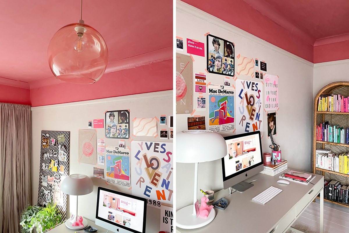 Emma Jane Palin's home office features a pink ceiling painted in Earthborn's Delilah
