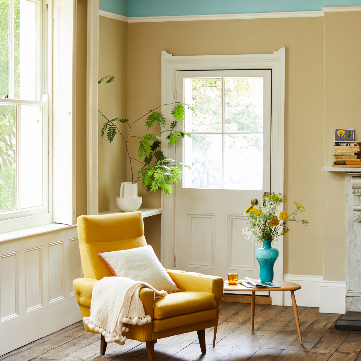 Paint colours Crocky Road and Milk Jug are a great combination in this characterful room