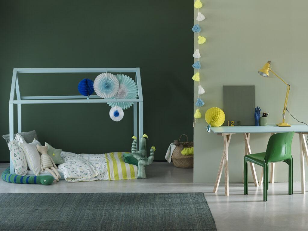 Kids room walls painted in Hobby Wood & Sapling with house bed painted in Milk Jug