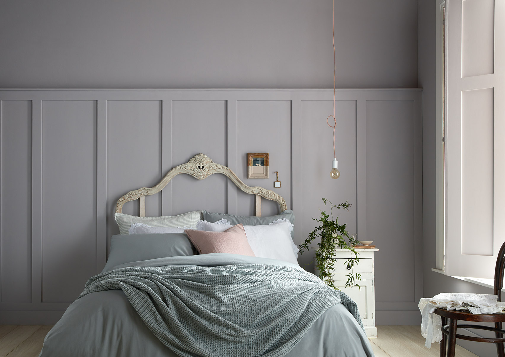 Gloaming from our new Modern Country Colours rnage is the perfect backdrop to a calm bedroom