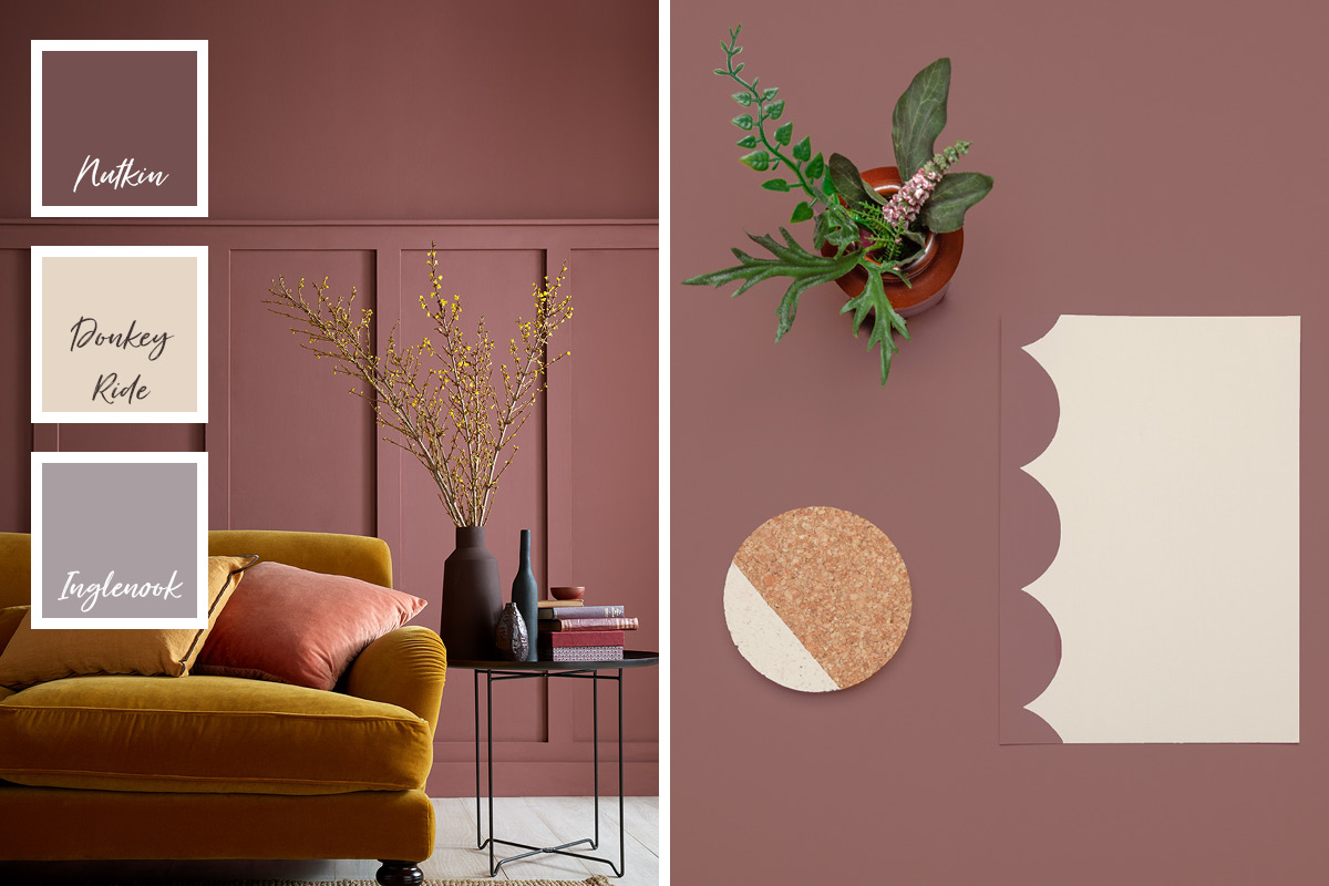 The earthy red tones of Nutkin from our Modern Country Colours range are ideally paired with Donkey Ride