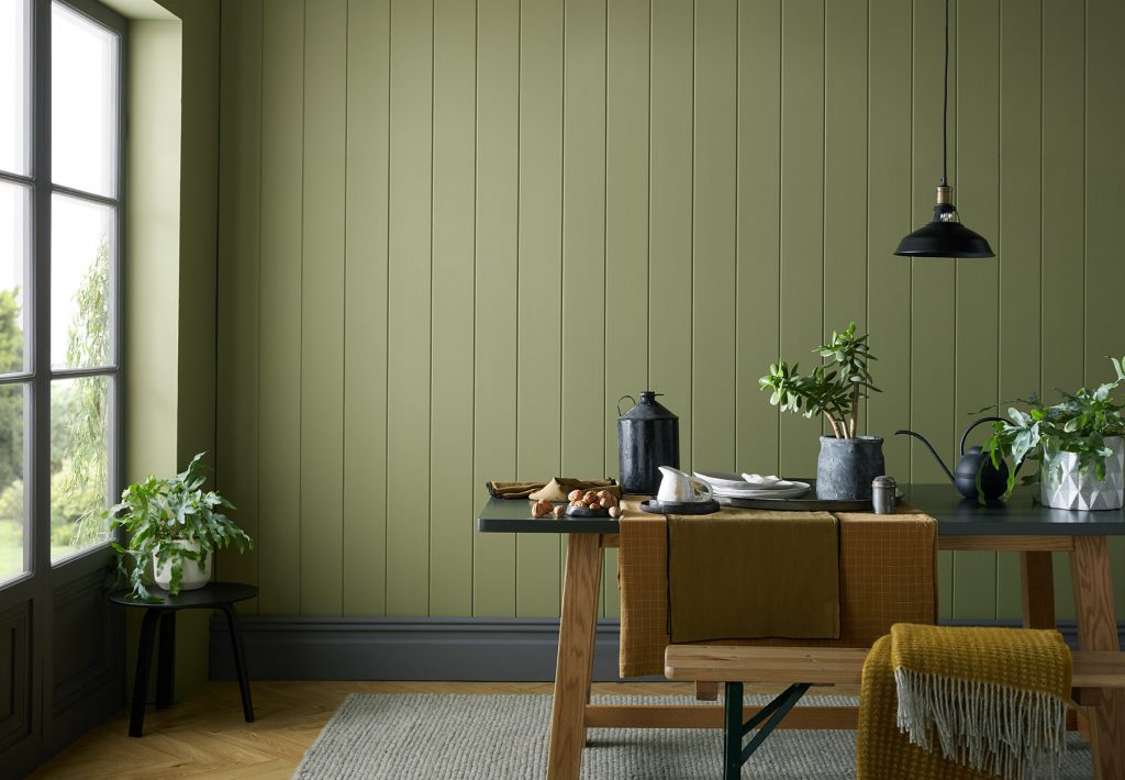 Peaseblossom is a flattering olive green that suits living rooms, kitchen and bedrooms