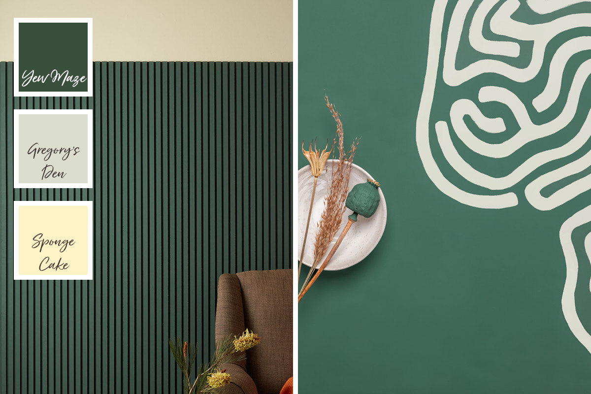 Yew Maze is a deep green that goes well with grey-greens and yellow tones