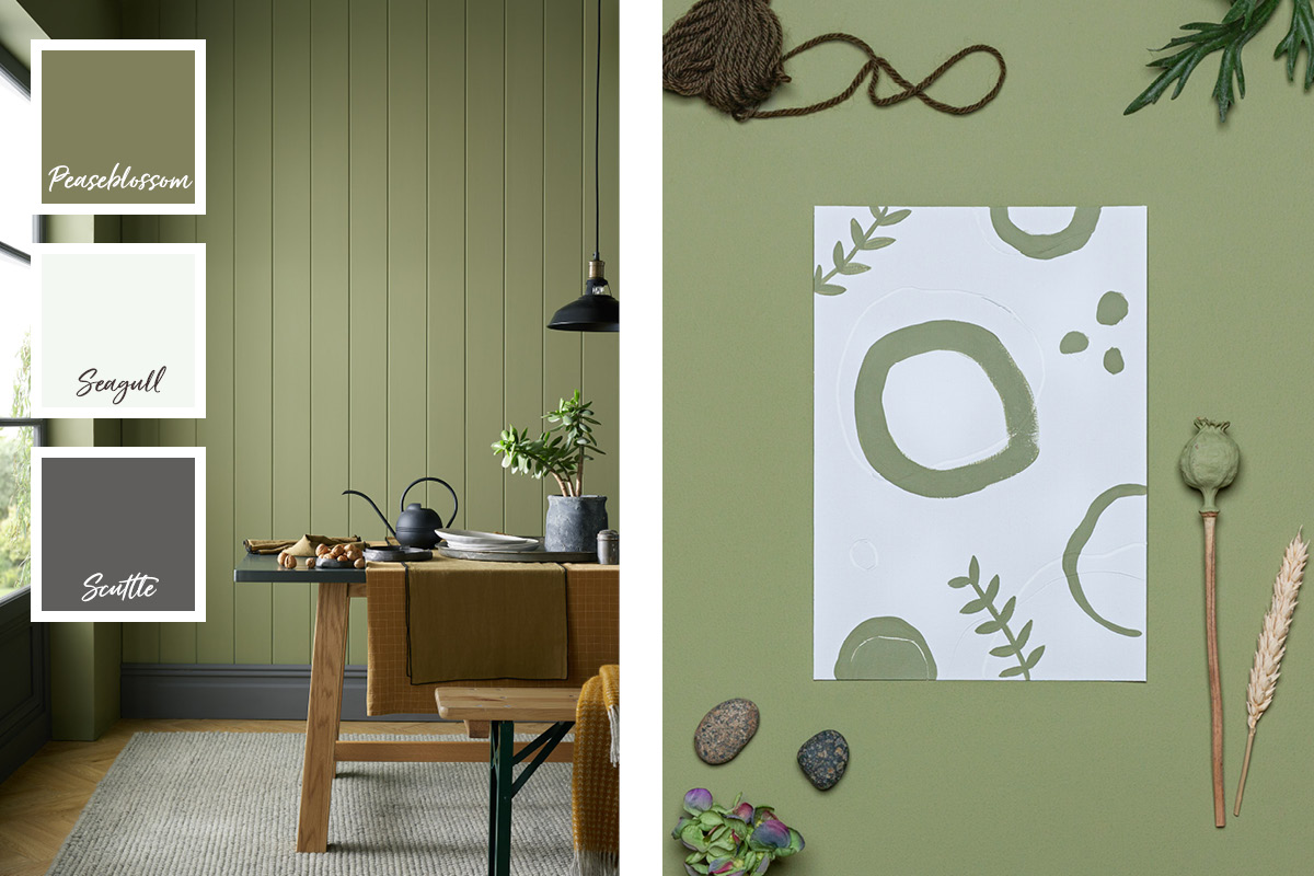 Our olive green paint colour Peaseblossom is ideally paired with greys and neutrals