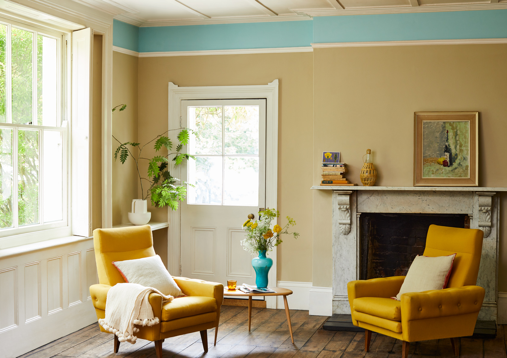 Crocky Road and Milk Jug are two easygoing paint colours to try in large living rooms