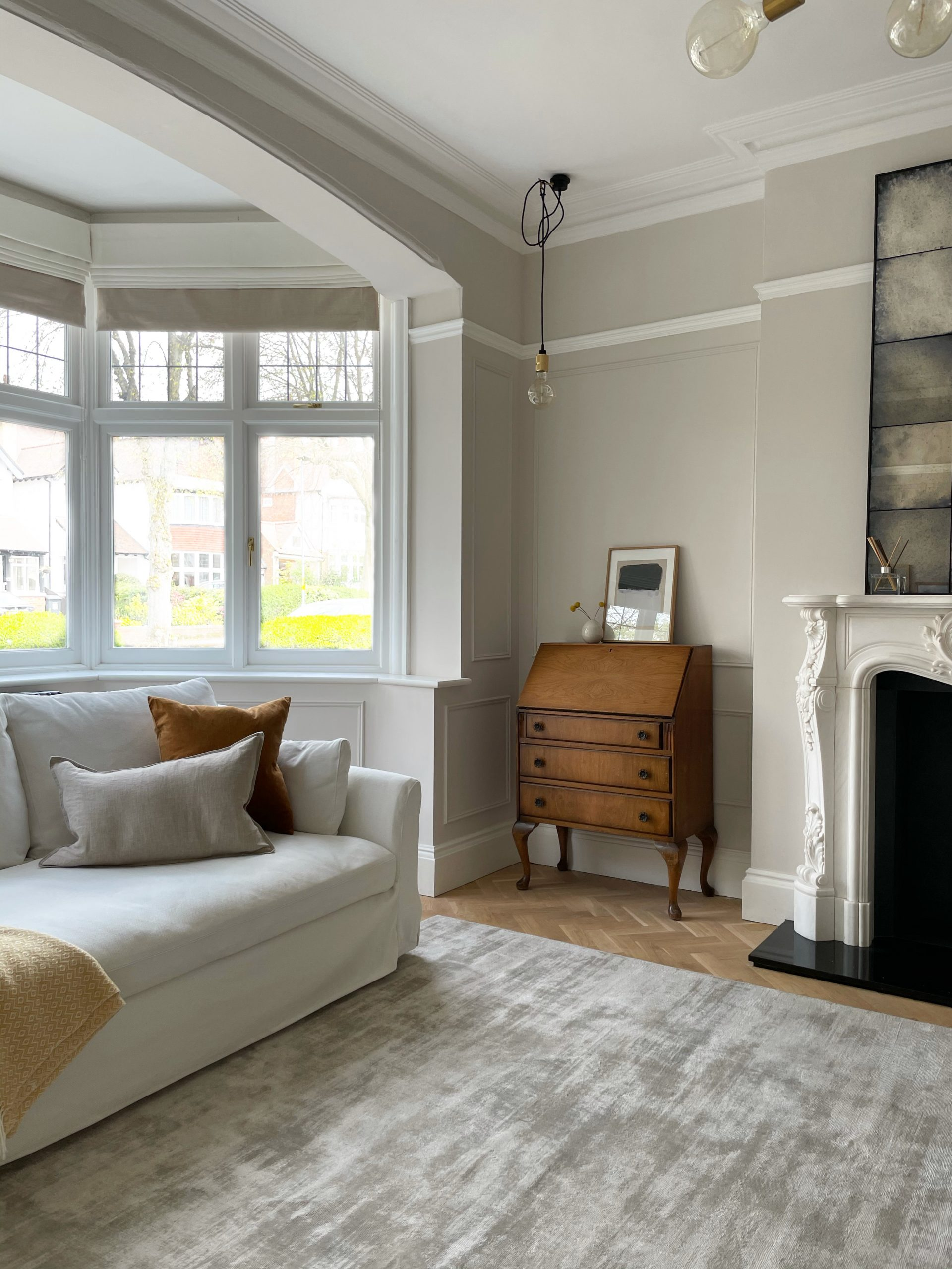 Feather Pillow is a warm neutral paint colour ideal for large living rooms